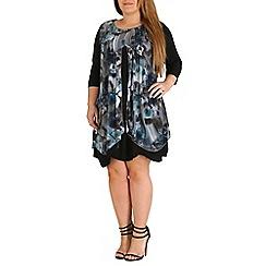Samya - Blue 3/4 sleeve pleat detail dress