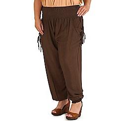 Samya - Khaki polyester plain pants