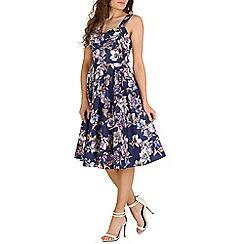 Izabel London - Navy sleeveless flower print midi dress