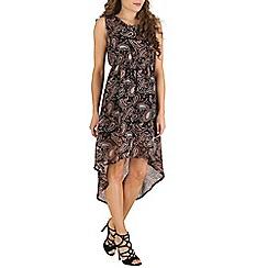 Mela - Black black paisley high low dress