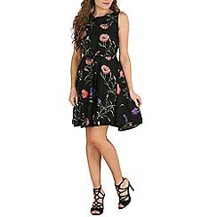 Mela - Black botanical print dress