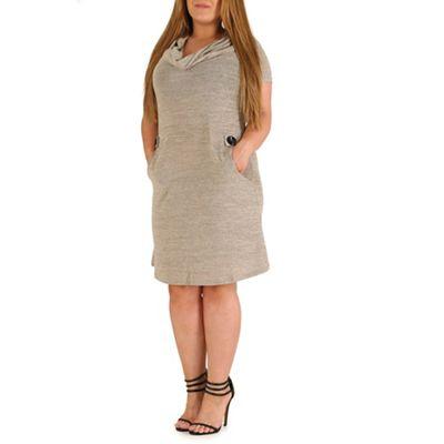 Samya Beige knitted aztec print dress