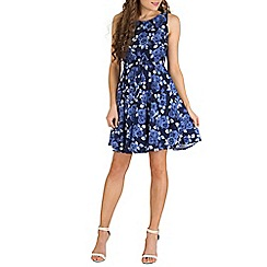 Mela - Blue rose print skater dress