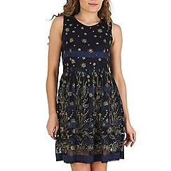 Mela - Navy glitter floral dress