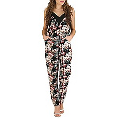 Mela - Black floral print jumpsuit