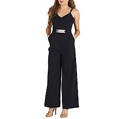 Mela - Navy belted detail jumpsuit