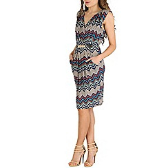 Mela - Multicoloured chevron zig zag print dress