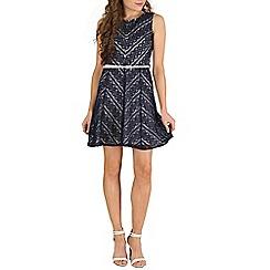Mela - Navy v print lace belted dress