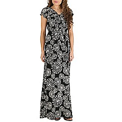 Mela - Black dandelion maxi dress
