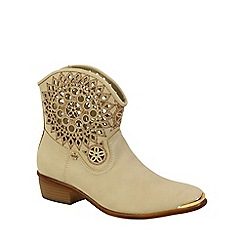 Keddo - Beige ankle cowboy style boots