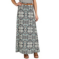 Izabel London - Blue patterned belt skirt