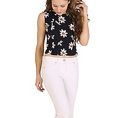 Poppy Lux - Navy rosanda lily flowers shell top