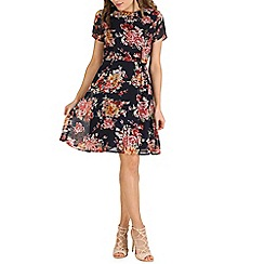 Poppy Lux - Navy zamira fit floral print dress