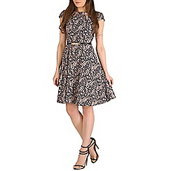 Izabel London - Blue cap sleeve belted dress