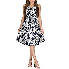 Solo - Navy leaf print dress with belt