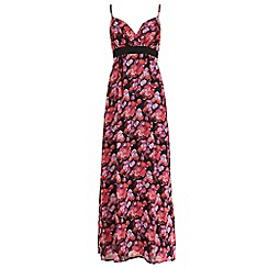 Mela - Black rose print maxi dress