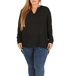 Samya - Black plus size long sleeve v neck top