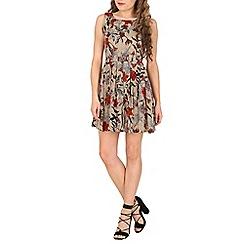 Tenki - Cream flower print flare skirt dress