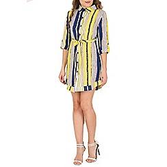 Tenki - Yellow vertical stripe shirt dress
