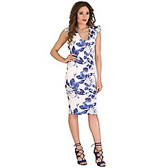 AX Paris - White rose printed bodycon dress