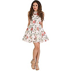 AX Paris - Cream stripe and floral skater dress