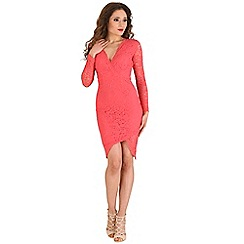 AX Paris - Peach lace wrap over dress