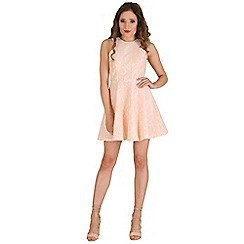 AX Paris - Peach cut in neck lace skater dress