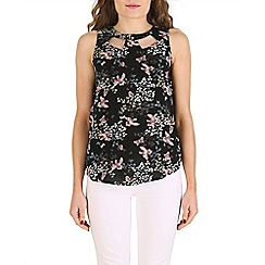Izabel London - Black floral print vest top