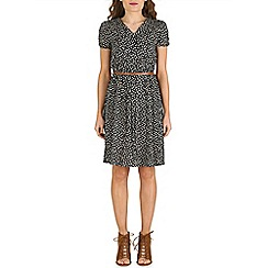 Izabel London - Black floral print belted dress