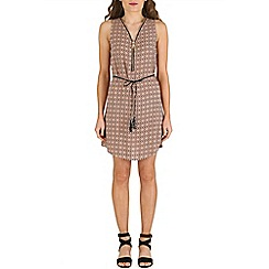 Izabel London - Tan patterned tie waist dress