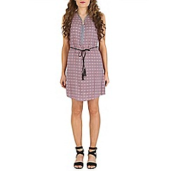Izabel London - Pink patterned tie waist dress
