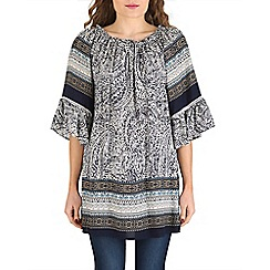 Izabel London - Blue boho peasant pattern top