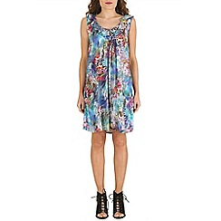 Izabel London - Blue ruffled neck floral print dress