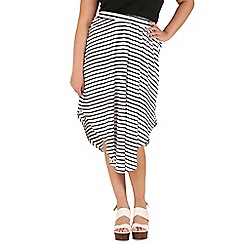 Samya - Black stripe print layered skirt