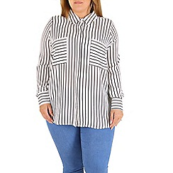 Samya - White  striped pocket shirt top