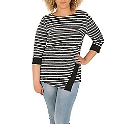 Samya - Black asymmetric stripe print top