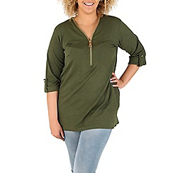 Samya - Green oversized zip detail top