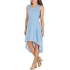 Cutie - Blue high low polka dress