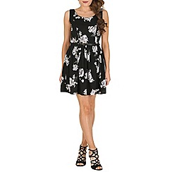 Mela - Black rose print dress