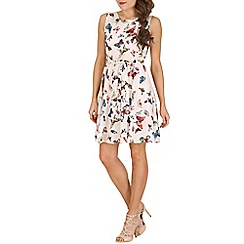 Mela - Cream butterflies skater dress