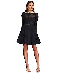 AX Paris - Navy crochet and mesh skater dress