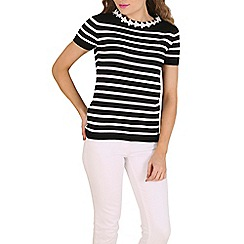 Poppy Lux - Black piper daisy stripe sweater