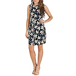 Poppy Lux - Navy lily print shift dress