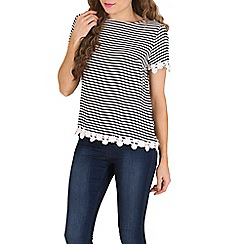 Poppy Lux - Navy raina stripe lace edge top