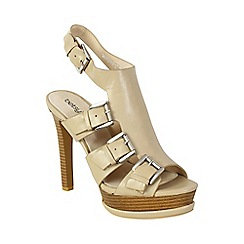 Betsy - Beige gladiator peep toe heels
