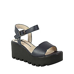 Betsy - Navy chunky contrast platform wedge