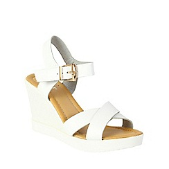 Betsy - White cross front wedges
