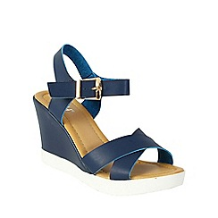 Betsy - Navy cross front wedges