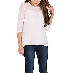 Amaya - White fine knitted stripe top