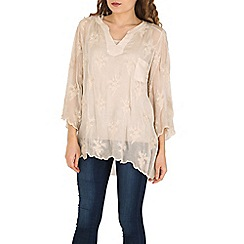 Amaya - Beige embroidered silk tunic with sequin